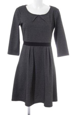 More & More A-Linien Kleid schwarz-grau grafisches Muster Business-Look