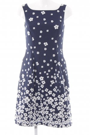 More & More A-Linien Kleid weiß-dunkelblau Blumenmuster Romantik-Look