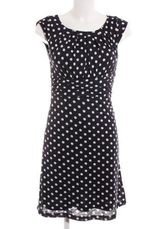 More & More A-Linien Kleid weiß-dunkelblau Punktemuster Casual-Look