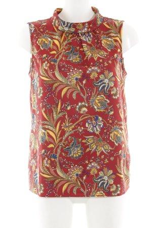 More & More ärmellose Bluse rostrot-dunkelgelb Blumenmuster Elegant