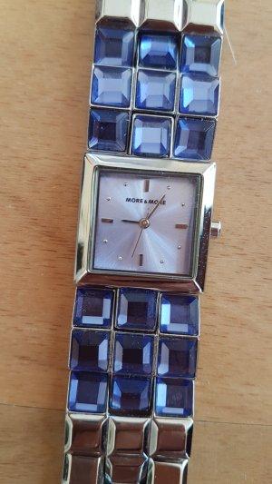 More & More Montre avec bracelet métallique argenté-violet