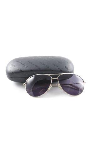 More & More Brille silberfarben-weiß 90ies-Stil