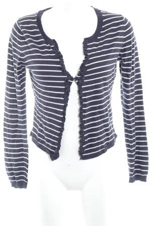 More & More Cardigan bleu foncé-blanc motif rayé style marin