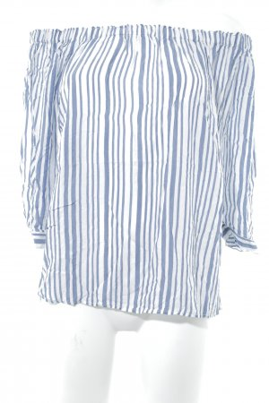 More & More Carmen-Bluse weiß-stahlblau Streifenmuster Casual-Look