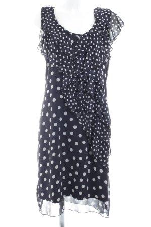 More & More Chiffonkleid dunkelblau-weiß Punktemuster Romantik-Look