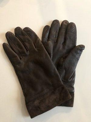 More & More Echt Leder Handschuhe, braune Lederhandschuhe