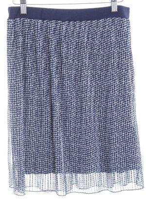 More & More Jupe à plis bleu foncé-blanc imprimé allover style décontracté