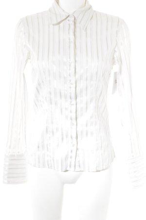 More & More Hemd-Bluse silberfarben-weiß Streifenmuster Elegant