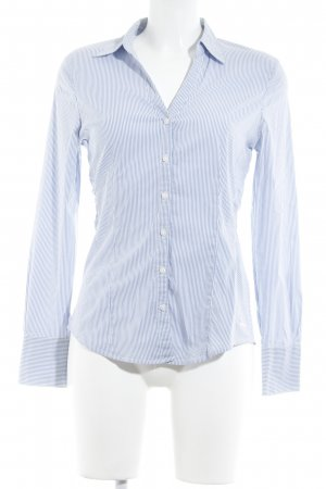 More & More Hemd-Bluse weiß-himmelblau Streifenmuster Business-Look