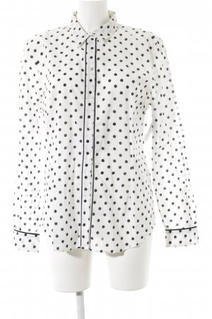 More & More Hemd-Bluse weiß-schwarz Punktemuster Elegant