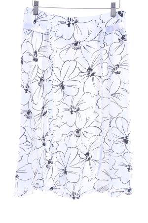 More & More High Waist Rock weiß-schwarz Blumenmuster Casual-Look