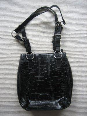 more & more kleine schwarz tasche wunderschoen neu krokoleder