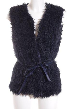 More & More Vest van imitatiebont donkerblauw pluizig