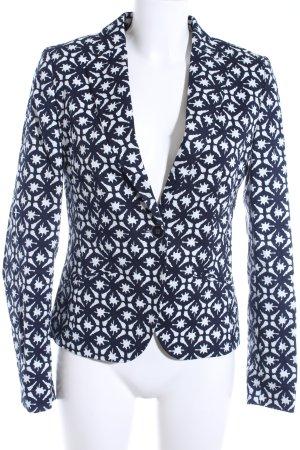 More & More Kurz-Blazer dunkelblau-weiß abstraktes Muster Casual-Look