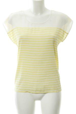 More & More Kurzarm-Bluse blassgelb-weiß Streifenmuster Casual-Look