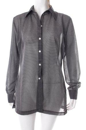 More & More Langarm-Bluse schwarz-silberfarben Streifenmuster Glitzer-Optik