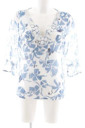 More & More Langarm-Bluse stahlblau-weiß florales Muster Casual-Look