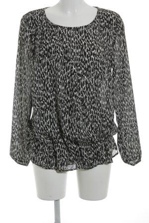 More & More Langarm-Bluse weiß-schwarz abstrakter Druck Street-Fashion-Look