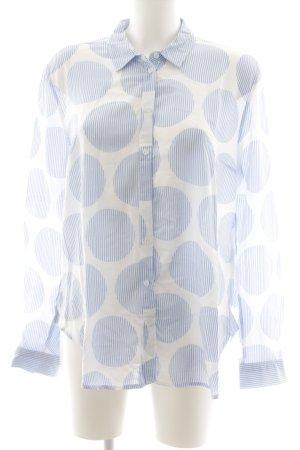 More & More Langarmhemd weiß-himmelblau Punktemuster Casual-Look