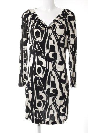 More & More Langarmkleid schwarz-creme abstraktes Muster Elegant