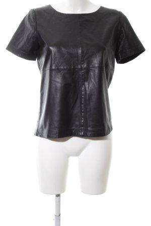 More & More Lederbluse schwarz Elegant