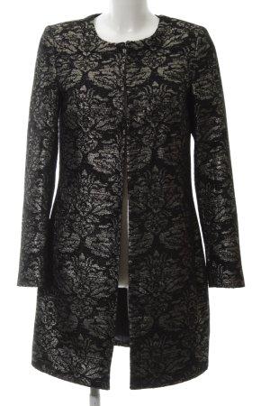 More & More Long-Blazer schwarz-silberfarben Blumenmuster Business-Look
