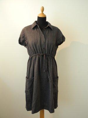 More & More More&More Kleid schwarz Struktur Kordl Schnürung aufgesetzte Taschen Hemdblusenkleid Kragen Halbarm edel Marke
