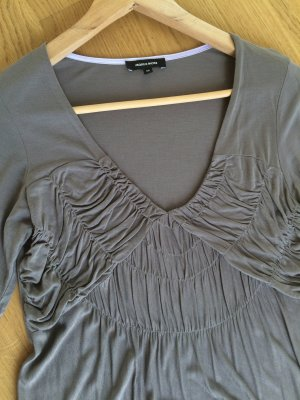 MORE & MORE - Neu! Taupfarbenes Empire Top Bluse Langarm Taupe