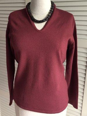 MORE & MORE Pullover V-Ausschnitt Merino rot Bordeaux M 38