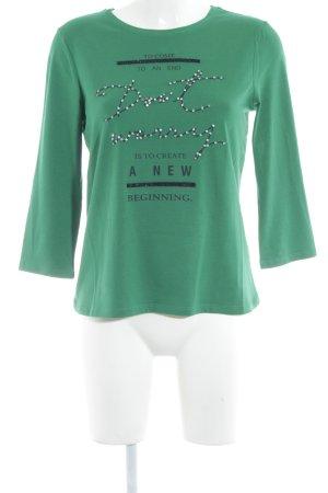 More & More Rundhalspullover grün Schriftzug gedruckt Casual-Look