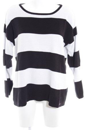 More & More Pull ras du cou blanc-noir motif rayé style décontracté