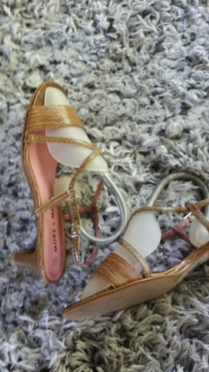 More & More Strapped High-Heeled Sandals sand brown synthetic material