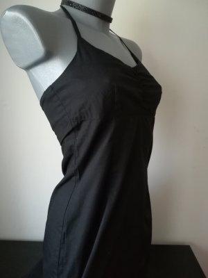 More & More schlicht schwarzes Neckholderkleid 100% Baumwolle elegant Midikleid
