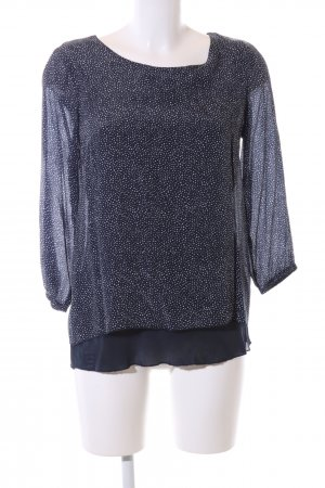 More & More Schlupf-Bluse blau-weiß Allover-Druck Casual-Look