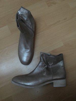 More & More Silber metallic 40 Stiefel Stiefeletten Echtleder neuwertig Muster