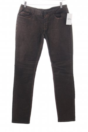 More & More Slim Jeans bronzefarben-schwarz Washed-Optik