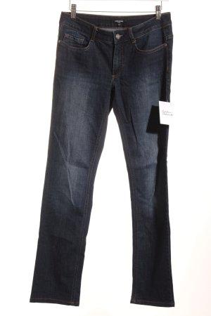 More & More Slim Jeans dunkelblau-gelb Jeans-Optik