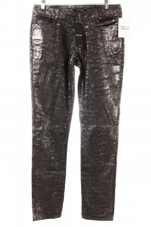 More & More Slim Jeans grau-silberfarben Animalmuster Glanz-Optik