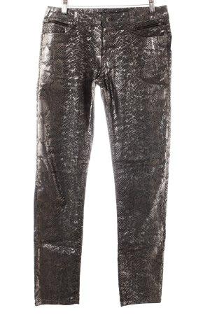 More & More Slim Jeans grau-silberfarben Animalmuster Glanz-Optik