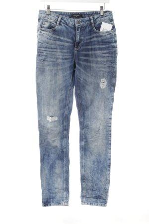 More & More Straight-Leg Jeans stahlblau Used-Optik