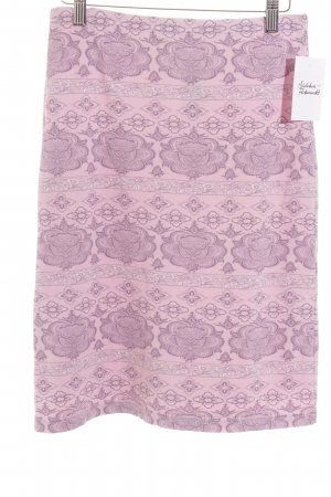 More & More Stretchrock grauviolett-rosa florales Muster Gypsy-Look