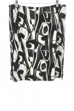 More & More Falda stretch negro-crema estampado con diseño abstracto