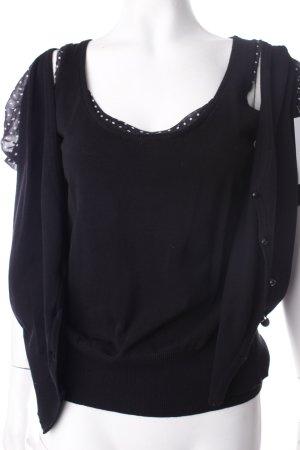 More & More Gebreide twin set zwart-wit gestippeld patroon Jaren 50 stijl