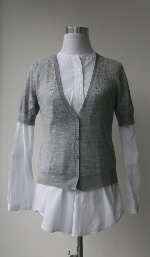 More & More Short Sleeve Knitted Jacket grey-silver-colored wool
