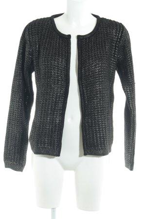 More & More Strickjacke schwarz-silberfarben Farbtupfermuster Casual-Look