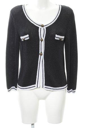 More & More Veste en tricot noir-blanc style décontracté