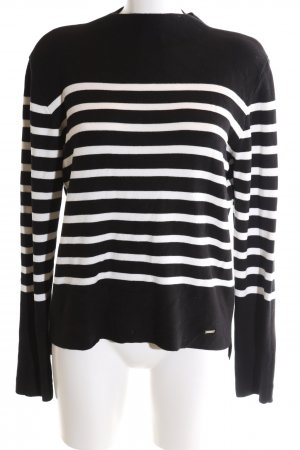 More & More Strickpullover schwarz-weiß Streifenmuster Casual-Look