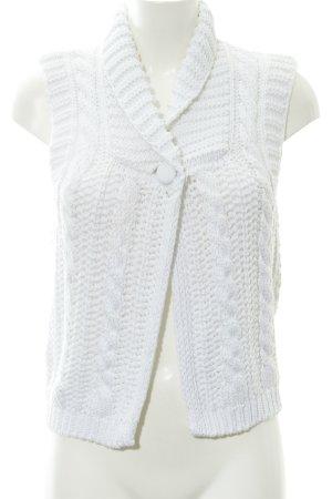 More & More Gilet tricoté blanc Motif de tissage style décontracté