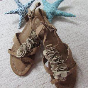 More & More Sandalo toe-post beige Pelle