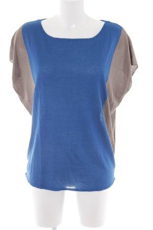 More & More T-Shirt kornblumenblau-hellbraun Street-Fashion-Look